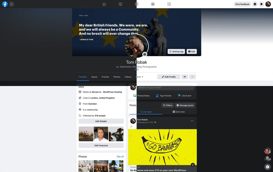 facebook 2020 profile darkmode whitemode 1 - The new Facebook 2020. How it looks and works?